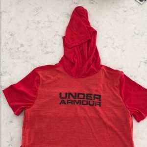 Under Armour Boys T-Shirt with Hood Red YLG